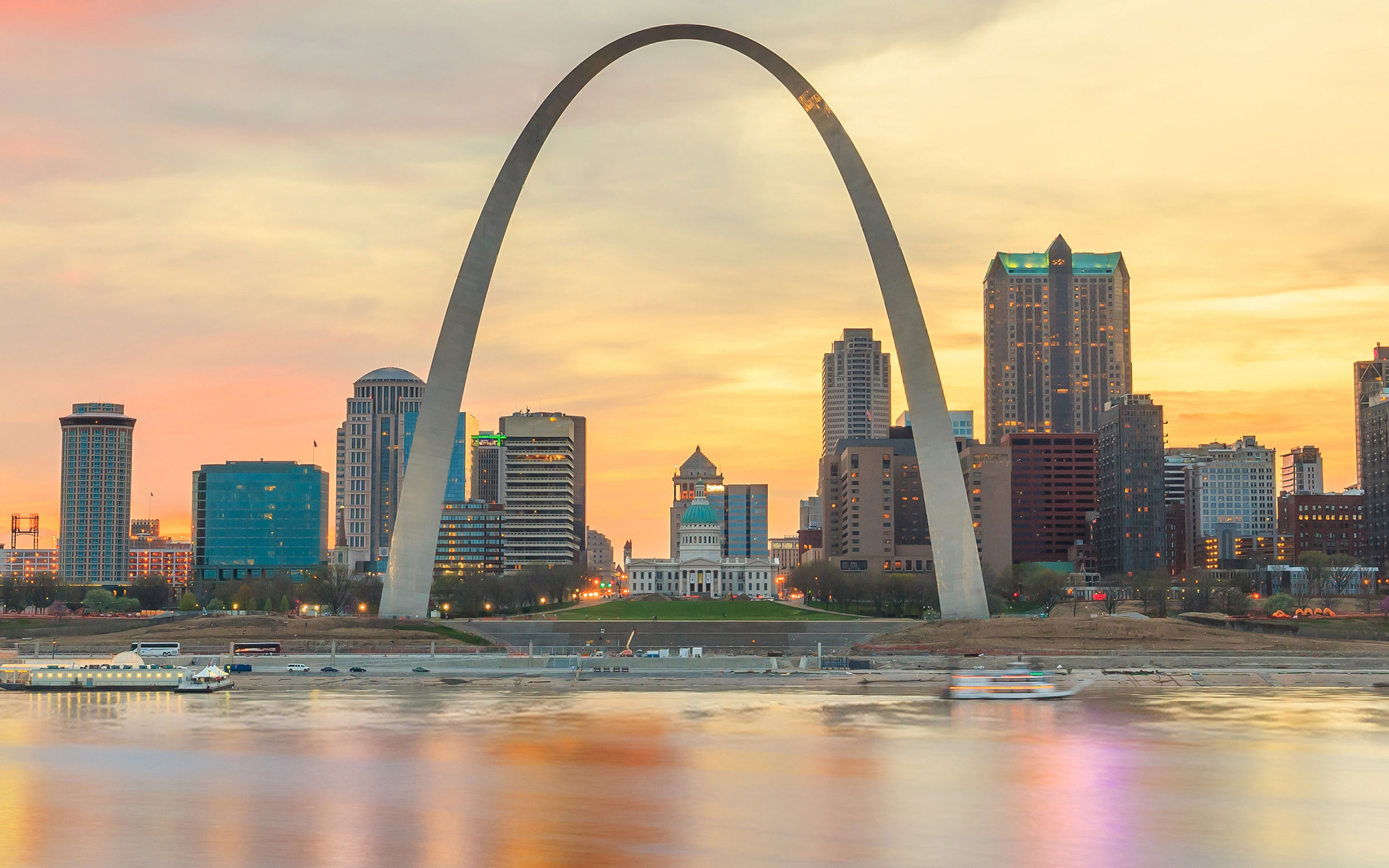 Downtown St. Louis sunrise over Mississippi River