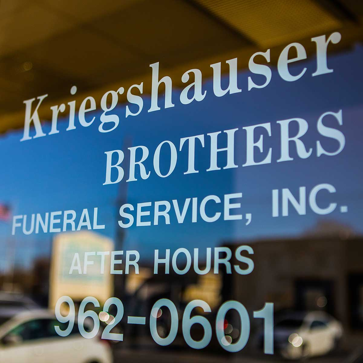 Front glass door at Kriegshauser Brothers